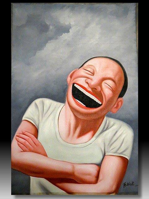 【 金王記拍寶網 】U1242  九O年代當代亞洲藝術家 岳敏君款 手繪油畫一張 ~ 罕見系列作品 稀少 藝術無價~