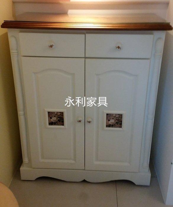 全實木雙色磁磚鞋櫃