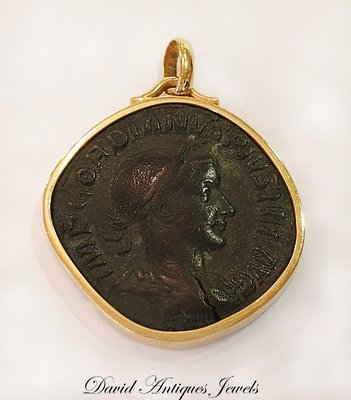 ((天堂鳥)) 希臘古幣18K金日製墜子 / 古老稀有