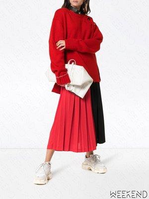 【WEEKEND】 AMBUSH 側邊開岔 破壞 外顯縫線 寬鬆 針織 上衣 紅色 18秋冬
