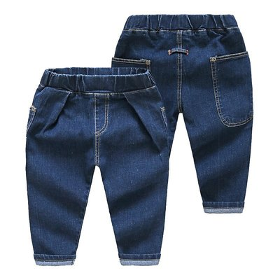 寶貝之家 【牛仔長褲】男童90~140cm新款 個性大口袋彈性牛仔長褲 鬆緊腰圍哈倫牛仔長褲