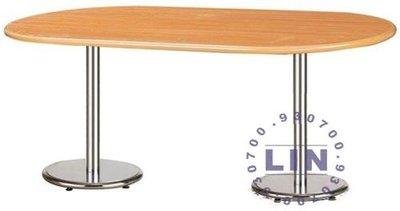 【品特優家具倉儲】◎25-01會議桌橢圓圓盤腳會議桌木紋
