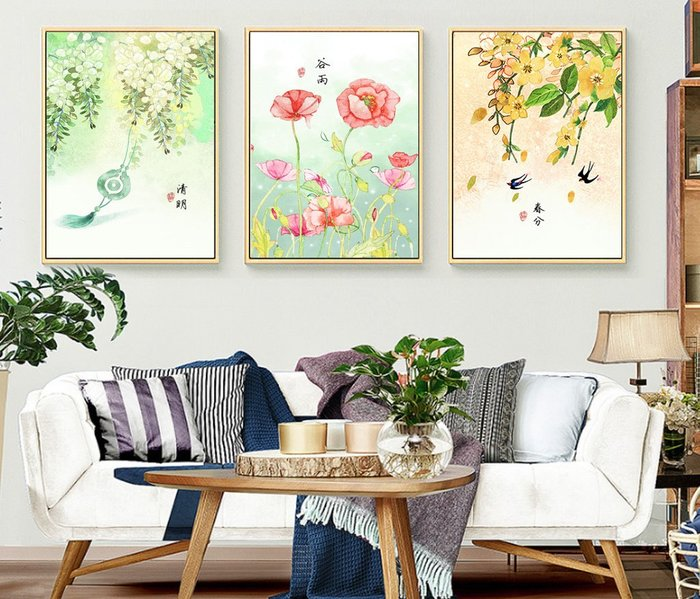 三幅一組油畫布 新中式現代民俗古風(2) 畫芯/畫布/30X40☺暖暖屋☺傢居藝術館
