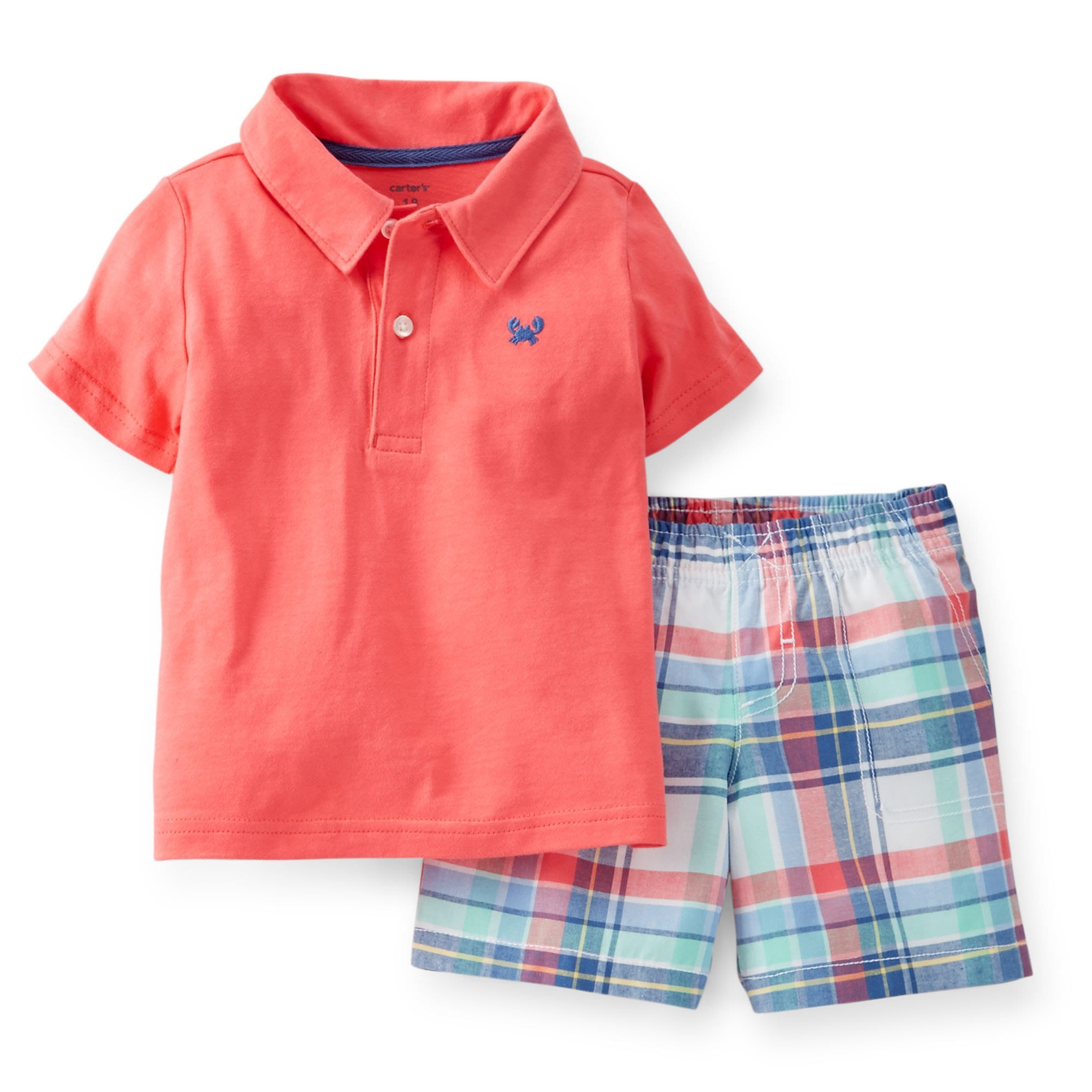 【Nicholes歐美進口優質童裝】Carters 男童短袖POLO上衣+格子短褲二件組*OLD NAVY
