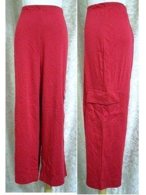 ~麗麗ㄉ大碼舖~大尺寸S~XL 28~46吋 紅色側管大口袋彈性七分褲~加大碼~本月