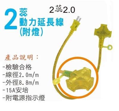 【高雄批發】 台灣製檢驗合格 1尺(30cm) 2蕊 2mm 動力延長線 動力線 附電源指示燈 延長線 1呎 戶外 露營 高雄市