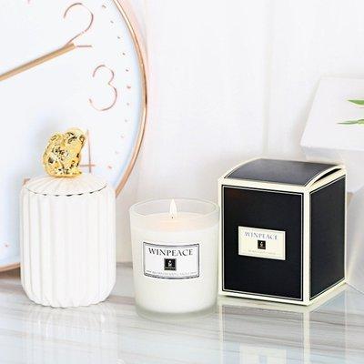 香薰蠟燭【150g】精油無煙白色玻璃杯大豆香燻蠟燭(無木蓋)11款
