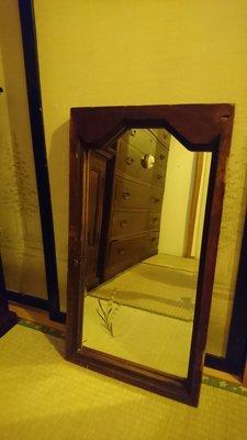 日治時期 刻花 鏡子 吊鏡