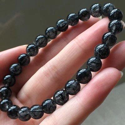 (共兩款)巴西天然黑髮晶,金髮晶單圈水晶手鍊(珠約7mm)