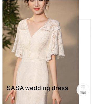 *全新~台中sasa婚紗禮服~復古長袖蕾絲設計婚紗 白紗~