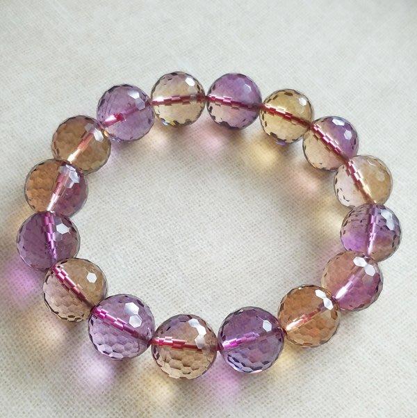 ☆采鑫天然寶石☆** 愛的平衡 **~頂級紫黃晶手鍊~圓珠切面~13mm珍藏
