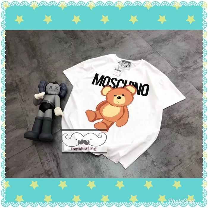 PapaDarling 20SS 歐美時尚潮牌 Moschino 同款 歪頭小熊 寬鬆 圓領T恤 圓領短袖T恤 黑色 白色