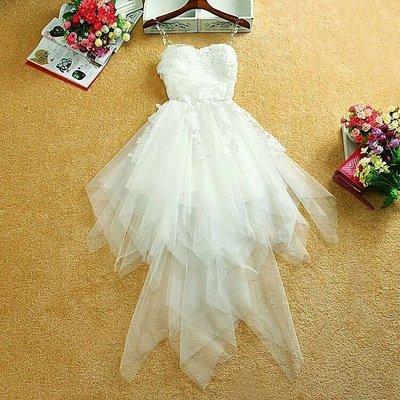 天使佳人婚紗禮服~顯瘦中長款连衣裙 氣質小禮服燕尾裙伴娘裙