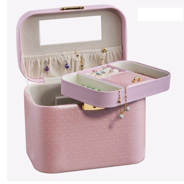 5Cgo【鴿樓】會員有優惠 16505232520 首飾盒複古 公主歐式化妝盒 皮質帶鎖手镯盒 收納 珠寶箱