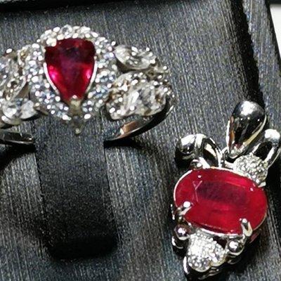 玉殿珠寶💖天然無燒紅寶石套組-戒子.墜子