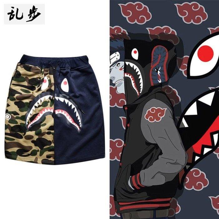 夏季迷彩短褲男休閒運動褲子中褲逗比鯊魚沙灘褲五分褲潮5分褲禮物