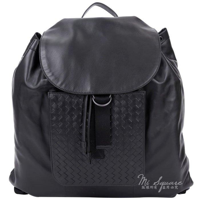 米蘭廣場 BOTTEGA VENETA 編織小牛皮拼接束口設計後背包(黑色) 1540967-01