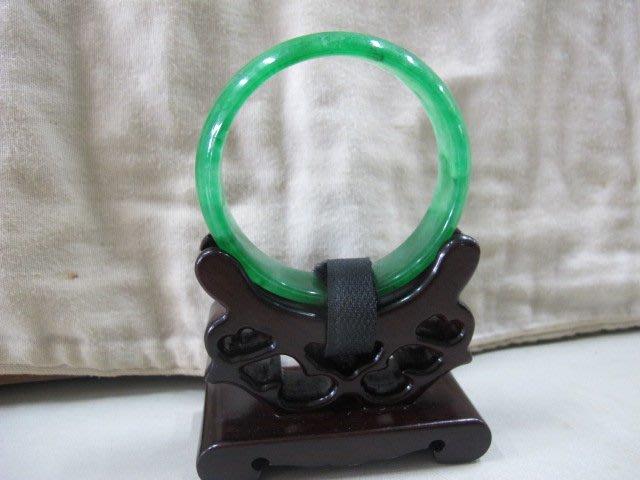 二手舖 NO.3961 天然翡翠 玉石手鐲 冰透 陽綠 玉環 手環 玉鐲