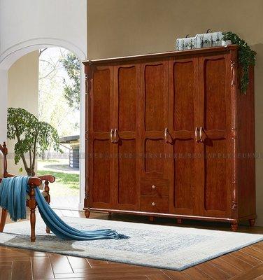 [紅蘋果傢俱] T8901 全實木系列 五門衣櫃 櫃子 儲物櫃 數千坪展示