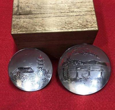 日本昭和初期-廣島三景 -純銀杯 x2