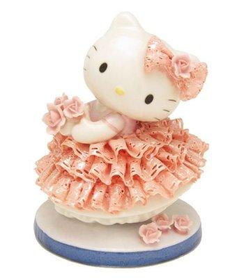 鼎飛臻坊 Hello Kitty 凱蒂貓  蕾絲花邊蓬蓬裙 造型 手工 陶瓷 娃娃  限量 日本正版