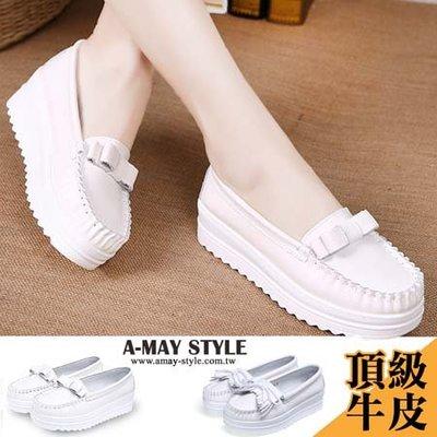樂福鞋-氣質簡約粗針線厚底小白鞋【XFR120053】