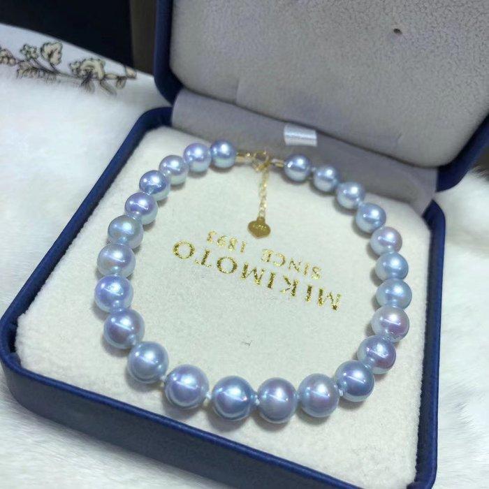 (輕舞飛揚)精緻好看,18k金鑲嵌天然真多麻海水珍珠手鍊,珠光寶氣,貴氣優雅,巴洛克風格,珠珠直徑7-8mm