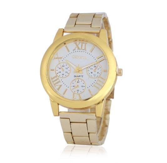【省錢博士】時尚羅馬字面假三眼鋼帶手錶 199元