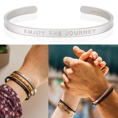 MANTRABAND 美國悄悄話手環 Enjoy the Journey 享受人生旅程 消光銀 寬版 男款