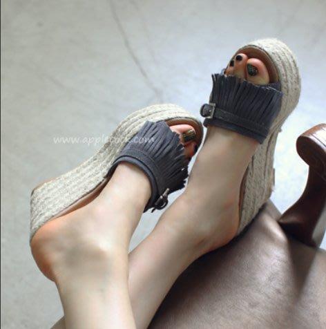 創意夏季女鞋 韓國代購夏季厚底真皮拖鞋流蘇亞麻草編高跟坡跟一字涼拖女