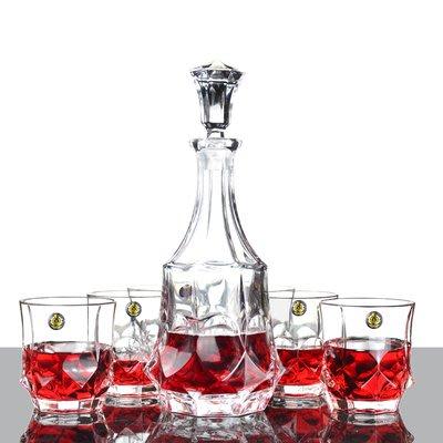 聚吉小屋 #虧本促銷 時尚水晶玻璃酒七套件 鉆石威士忌紅酒酒具套裝禮盒