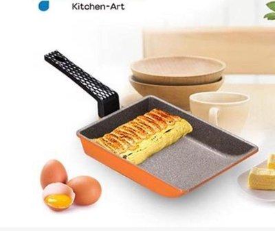韓國進口Kitchen Art 亮麗橘鈦晶石玉子燒鍋/煎蛋鍋-19cm (1支) 鈦晶