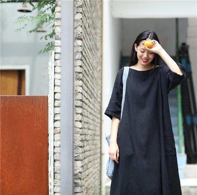 原創設計圓領氣質款純麻連衣裙(老銀屋)
