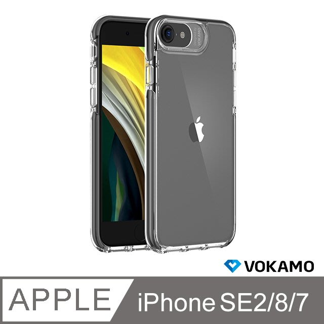 VOKAMO Smult for iPhone SE2/8/7晶透防摔保護殼-黑/粉