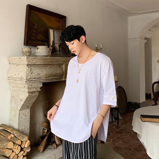 FINDSENSE品牌 訂製 G6 韓系男裝 正韓薄款寬鬆T簡約T棉T素面T圓領大開叉寬鬆上衣男短袖T恤半袖上衣