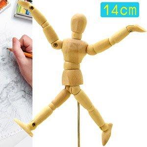 5.5吋關節可動木頭人14CM素描木製人偶14公分小木偶關節可活動式木人工具人體模特model D057-02【推薦+】