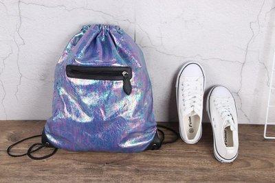 外面還有一個口袋 英國 BHS 雙層鐳射防水 雙肩包 後背包 抽繩包 鞋袋 書包 休閒 旅行背包(BBS32)