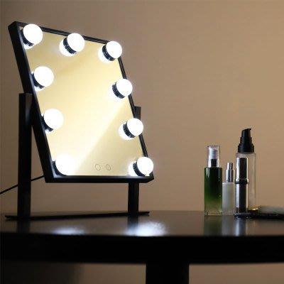 化妝鏡 方形大號LED帶燈泡臺式少女網紅梳妝鏡臺學生宿舍補光鏡子