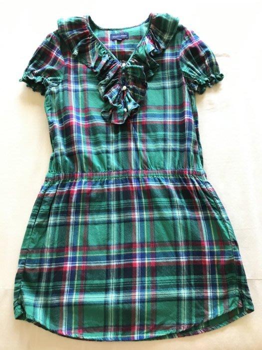 Ralph Lauren 經典綠格紋氣質洋裝/長上衣-10A-低價起標