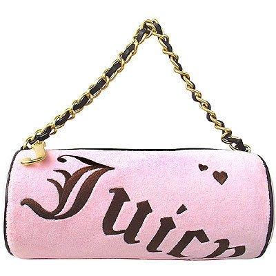 ♥ 妮妮小舖 ♥ JUICY COUTURE粉紅法蘭絨立體長型圓桶肩背包【$3280含運】現貨