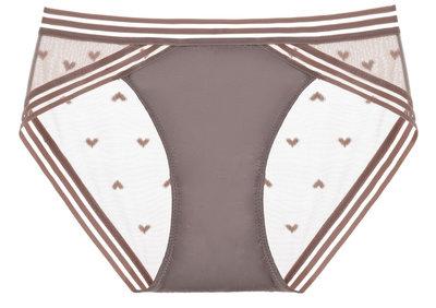 女內褲低腰三角短褲性感網紗透明超薄愛心學生提臀純色火辣誘惑-奶茶色