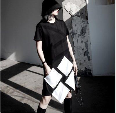Dark.Q sky 黑拼白方塊T恤連身裙