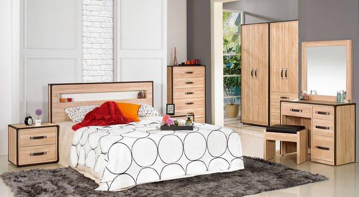 FA-561-A  溫蒂5尺橡木紋雙人床組(雙人床+床頭櫃x2+斗櫃+鏡台含椅)大台北區/家具/超低價/高品質/1元起