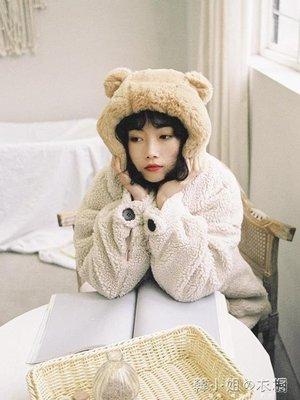 ZIHOPE 可愛的毛絨絨雷鋒帽女冬季熊耳朵毛球加棉加厚保暖帽子ZI812