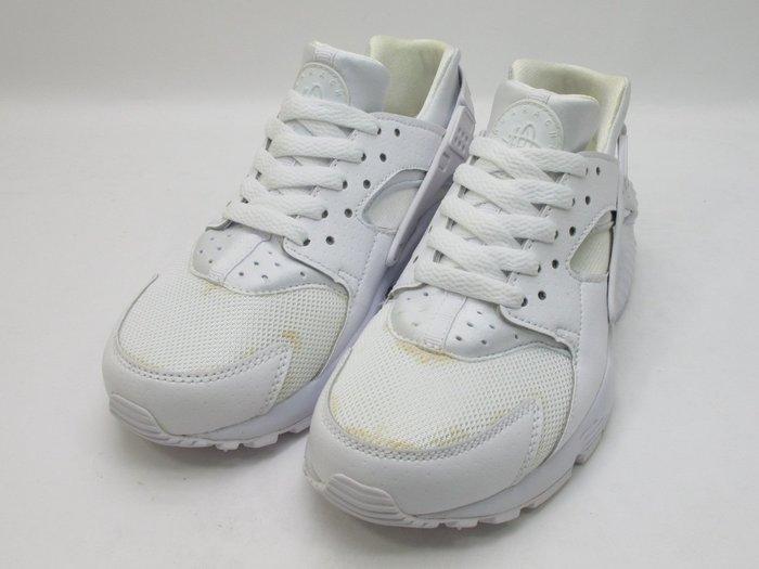 發黃瑕疵出清 2015 NIKE HUARACHE RUN GS PURE WHITE 女鞋 全白 654275-110