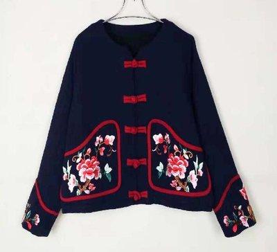 全網最低價 經典名族服冬女薄款棉衣短款繡花棉服棉襖口袋盤扣民族風時尚新款