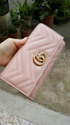 Gucci 翻蓋 扣子長夾 淡粉色 玫瑰粉色 山形文 經典 全新 現貨