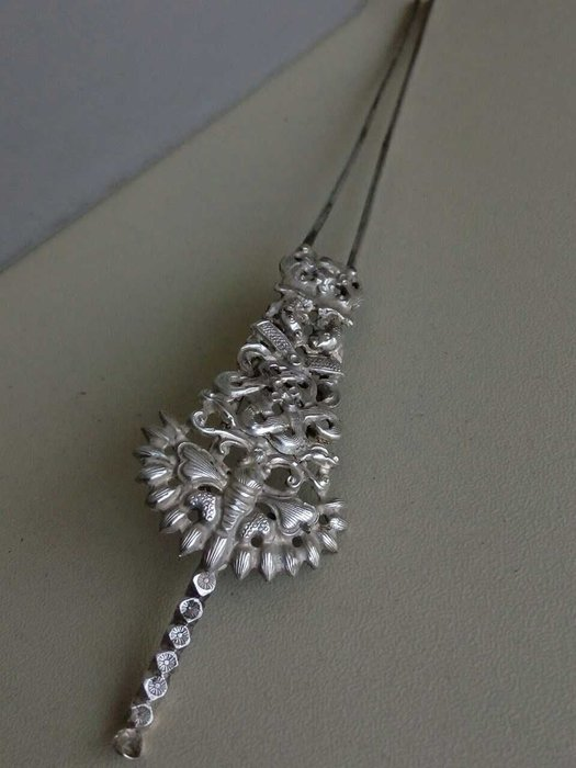 藏寶閣 清代老銀鏤空耳挖發釵工藝繁複華麗收藏精品檔次特別高元素極其多 G1680