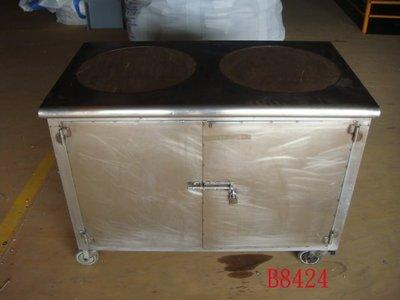 【全冠】二手 厚白鐵 雙口湯桶台 湯桶 湯架 保溫台 湯爐 白鐵餐車 (B8424)
