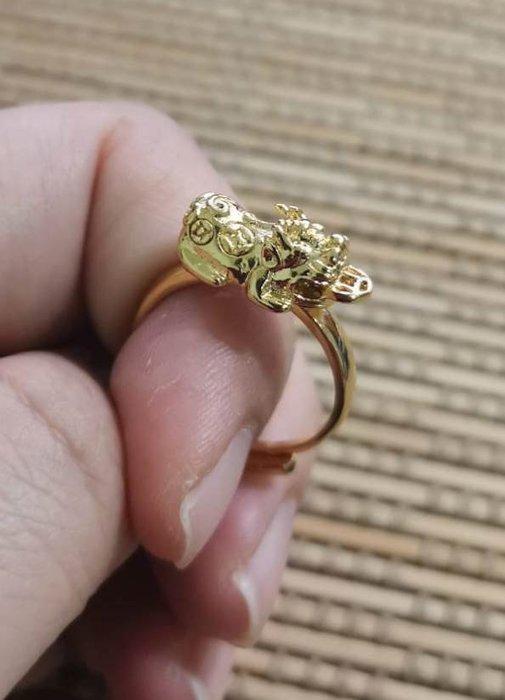 金貔貅招財開運沙金戒指-活圍
